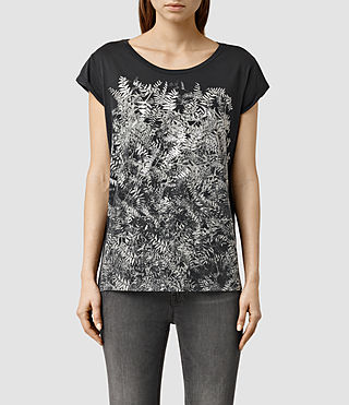 Womens Fern Boyfriend Tee (Washed Black)