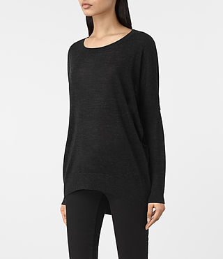 Femmes Sweatshirt Lao Isola (Washed Black) - product_image_alt_text_4