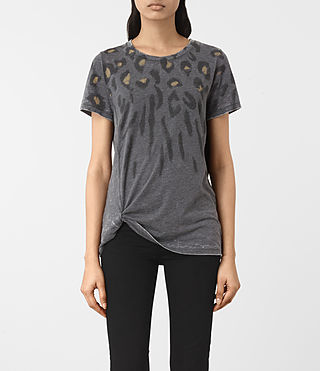 Femmes T-shirt Lao Mellon (COAL GREY)