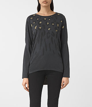 Mujer Lao Wave Long Sleeve Tee (DARK NIGHT BLUE)
