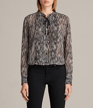 Womens Cada Zebra Shirt (OYSTER WHITE/BLACK) - Image 1