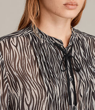 Womens Cada Zebra Shirt (OYSTER WHITE/BLACK) - Image 2