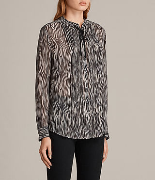 Womens Cada Zebra Shirt (OYSTER WHITE/BLACK) - Image 3