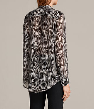 Womens Cada Zebra Shirt (OYSTER WHITE/BLACK) - Image 4