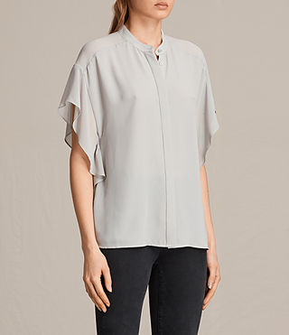Women's Mila Sheer Shirt (Stone Grey) - product_image_alt_text_2
