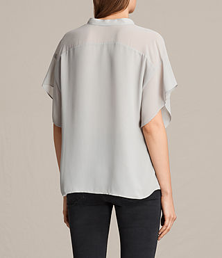 Women's Mila Sheer Shirt (Stone Grey) - product_image_alt_text_3