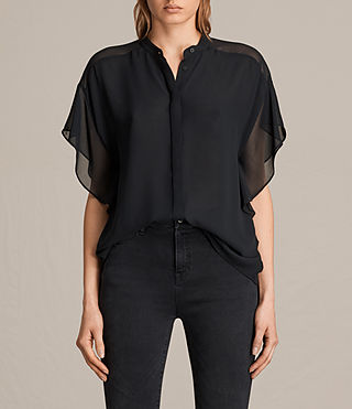 Women's Mila Sheer Shirt (Black) -