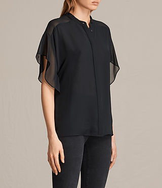 Womens Mila Sheer Shirt (Black) - product_image_alt_text_2