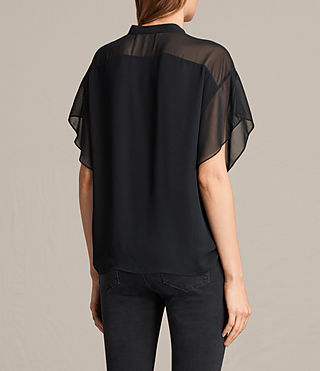 Womens Mila Sheer Shirt (Black) - product_image_alt_text_3
