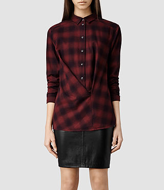 Womens Kayla Shirt (Burgundy Check)