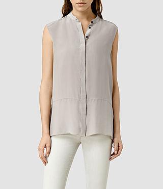 Womens Isha Sleeveless Shirt (Taupe/Grey)