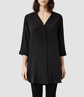 Womens Iris Split Shirt (Black)