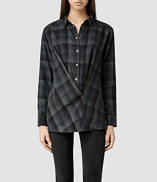 Womens Kayla Teal Shirt (Teal Check)