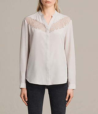 Womens Kite Lace Silk Shirt (CHAMPAGNE PINK) - product_image_alt_text_1