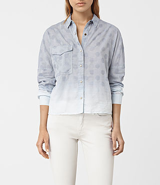 Damen Bella Jacquard Shirt (LIGHT INDIGO BLUE)