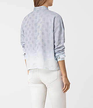 Femmes Bella Jacquard Shirt (LIGHT INDIGO BLUE) - product_image_alt_text_3