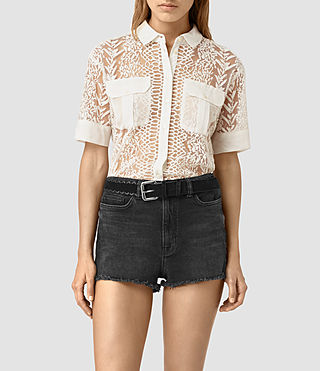 Damen Cariad Embroidered Shirt (Chalk White) -