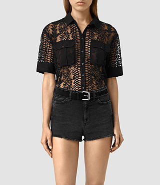Mujer Cariad Embroidered Shirt (Black) -