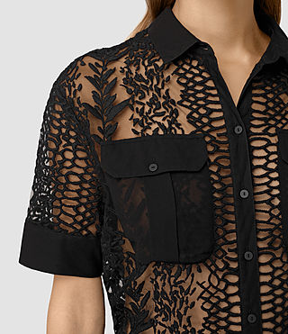 Mujer Cariad Embroidered Shirt (Black) - product_image_alt_text_2