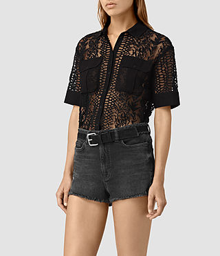 Mujer Cariad Embroidered Shirt (Black) - product_image_alt_text_3