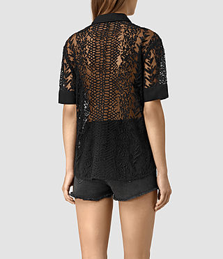 Mujer Cariad Embroidered Shirt (Black) - product_image_alt_text_4