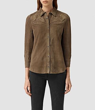 Womens Nathalia Suede Shirt (Khaki Green)