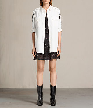 Mujer Camisa Patch Military (OYSTER WHITE)