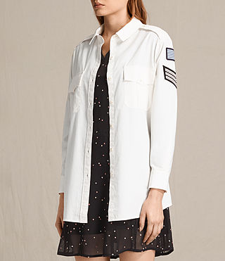 Mujer Patch Military Shirt (OYSTER WHITE) - product_image_alt_text_3