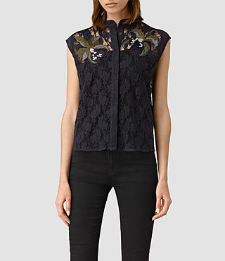 Damen Anya Embroidered Shirt (Ink Blue)
