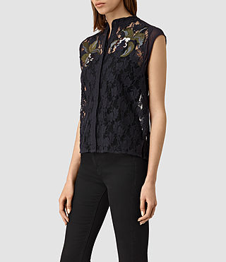 Women's Anya Embroidered Shirt (Ink Blue) - product_image_alt_text_2
