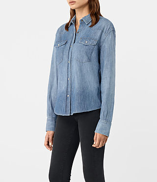 Womens Xena Denim Shirt (Indigo Blue) - product_image_alt_text_1