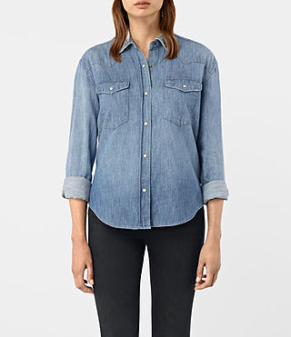 Women's Xena Denim Shirt (Indigo Blue) - product_image_alt_text_2