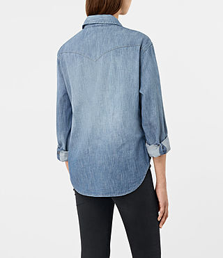 Women's Xena Denim Shirt (Indigo Blue) - product_image_alt_text_3