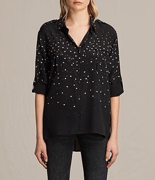 Womens Millie Estrela Silk Shirt (Black) - product_image_alt_text_1