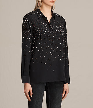 Womens Millie Estrela Silk Shirt (Black) - product_image_alt_text_3