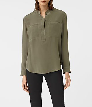 Womens Marie Silk Shirt (Light Khaki) - product_image_alt_text_1