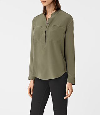 Womens Marie Silk Shirt (Light Khaki) - product_image_alt_text_2