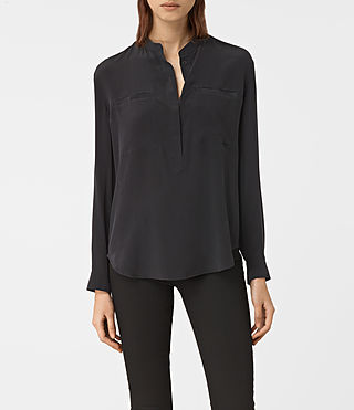 Womens Marie Silk Shirt (Black)