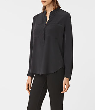 Damen Marie Silk Shirt (Black) - product_image_alt_text_2
