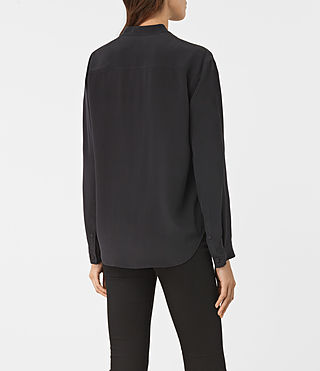 Mujer Marie Silk Shirt (Black) - product_image_alt_text_3