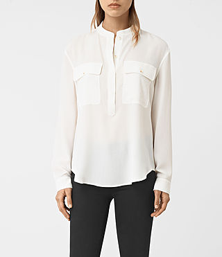 Womens Mara Silk Shirt (Chalk White)