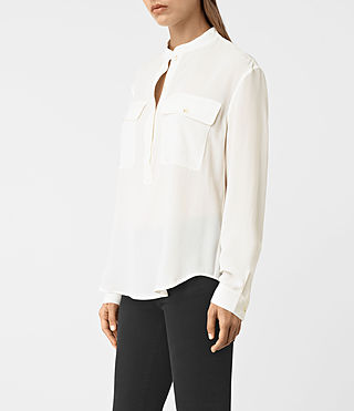 Women's Mara Silk Shirt (Chalk White) - product_image_alt_text_2