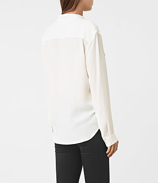 Women's Mara Silk Shirt (Chalk White) - product_image_alt_text_3