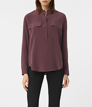 Femmes Mara Silk Shirt (Damson Red) -