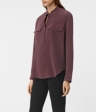 Femmes Mara Silk Shirt (Damson Red) - product_image_alt_text_2