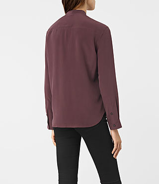 Femmes Mara Silk Shirt (Damson Red) - product_image_alt_text_3