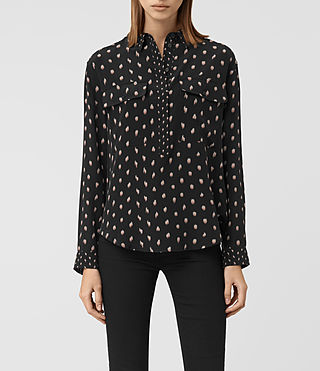 Damen Maria Flic Silk Shirt (Black)