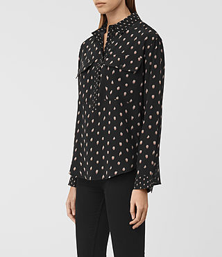 Mujer Maria Flic Silk Shirt (Black) - product_image_alt_text_2