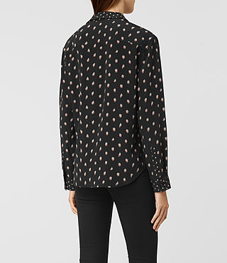 Mujer Maria Flic Silk Shirt (Black) - product_image_alt_text_3
