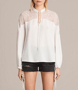 Women's Laya Lace Silk Shirt (Chalk White) - Image 1